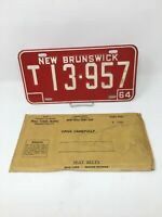 New Brunswick Canada License Plate Vintage 1964 Trailer W/ Sleeve T 13.957