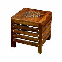 Wooden Square Shape Stool/Table Natural Wood (12x12x12 Inch Brown) Walnut Finish