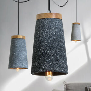 Modern Pendant Timber Top Cable Ceiling Lamp Retro Concrete Drop Light  L
