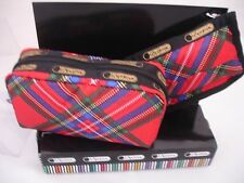 LeSportsac Cosmetics Case Tissue Pouch Set, Cozy Plaid Red .Retail $ 38.00