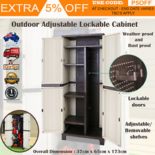Outdoor Storage Cabinet Lockable Cupboard Tall Garden Garage Adjustable Spacious