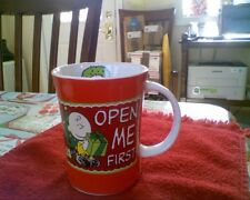 Peanuts Charlie Brown Christmas Open Me First Coffee Mug