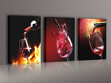 3 Panels Framed Ready To Hang Wine Canvas Prints Wall Art Kitchen Dinning Decor