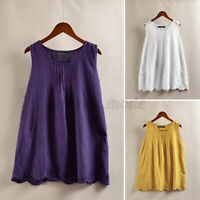 Women Summer Sleeveless Lace Patchwork Shirt Solid Cotton Vest Tops Tunic Blouse