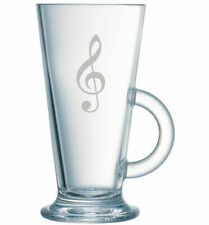 Latte Coffee Glass Music Note Treble Clef Hand Etched.38