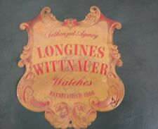 """Vintage Longines Wittnauer Watches Agency Ornate Engraved Brass Sign 8"""" by 8 3/4"""