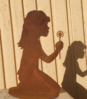 Hund Lucy mit Leine Höhe 40 cm Gartenstecker Edelrost Rost Metall Rostfigur