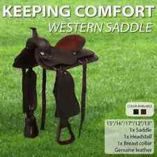 vidaXL Western Saddle Headstall&Breast Collar Leather Brown/Black Multi Sizes