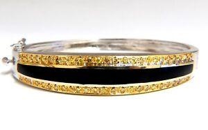 2.00ct natural round fancy yellow diamonds bangle bracelet 14kt
