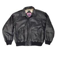 EUC Vintage Burks Bay Leather BOMBER Jacket Flight Motorcycle Coat Men's L