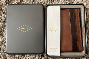 Fossil Money Clip Bifold Brown Leather w/ Tin Case NEW
