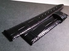 Longines band SHINY BLACK 18/16mm. 115/75mm, Upside alligator leather. NEW