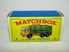 "Matchbox Regular Wheels No 4 Stake Truck ""E4"" Type Empty Box Very Near Mint"