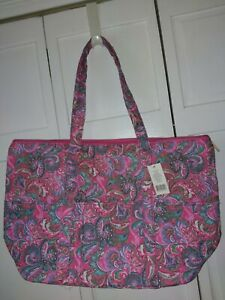 large quilted pink paisley tote bag shopper NWT