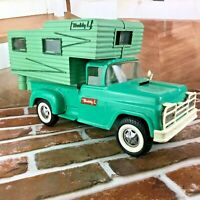 Vintage Pressed Steel Buddy L Camper Truck Step side Aqua with Camper