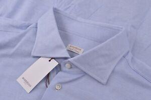 NWT Borriello Napoli Size US 44 17.5 Men's Dress Shirt Blue Brand New $345