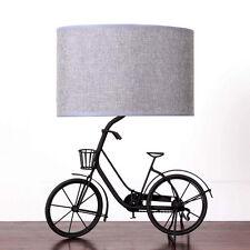 Shabby Chic de metal único Bicicletas Lámpara De Mesa Grande 40cm Gris Dormitorio Vintage