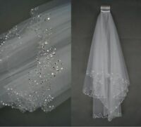 Wedding Veil Bridal Beaded White/Ivory 2 Layer Veils Beaded Edge With Comb