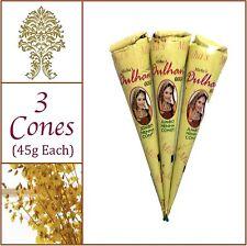 3 Jumbo Cones. Pure Henna(Heena) Tattoo Paste. No Chemicals No PPD. 45g Ea.