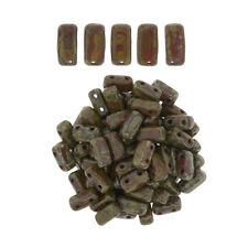 50 CzechMates Bricks Umber Picasso Two Hole Beads 3x6mm