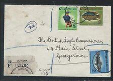 GUYANA (P2109B) 5C+6C FISH+10C BIRD REG ROSIGNOL TO GEORGETOW