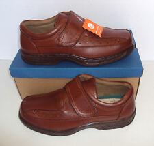 Mens Brown Leather Wide Fit Shoes Hook & Loop Fasten Memory Foam UK 10