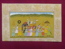 Indian Mughal procession HandPainting Old Paper Persian Calligraphy Art Antique