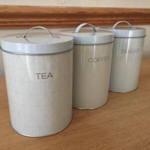 VINTAGE RETRO ENAMEL TEA COFFEE SUGAR CANISTERS TINS CARAVAN CAMP TINS CANISTERS