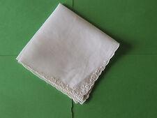 """Antique/Vintage Linen Handkerchief White 12 """" x12 """" beautiful embroderd around"""