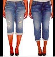 "NWT Boutique Jeans Size 24, 20,18,16 Capri Denim Distress 24"" 27"" Plus JC125"