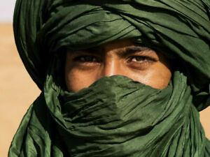 African Tuareg Scarf  - Green - Long Handmade Ethnic Turban - Military Scarf