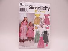 Simplicity 9497 Girl's Dress Sewing Pattern Complete SZ 7-14