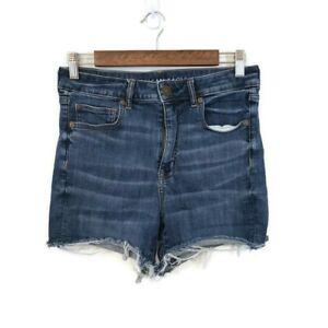 American Eagle Womens Super High Rise Shortie Shorts Size 8 Dark Wash Denim Jean