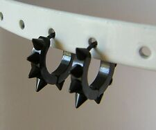 1 Paar Edelstahl Klappcreolen Schwarz Ohrringe Spike  Creolen  Ø20 mm