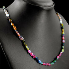 67.00 Cts Natural Tourmaline & Black Spinel Faceted Beads Necklace NK 05E71