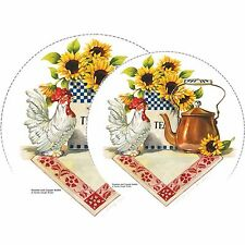Electric Stove Top Range Round Rooster & Copper Kettle Burner Cover Set of 4