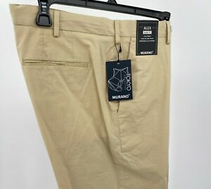 Men's Pants Size 30x30 Khaki Stone Alex Slim Fit Murano Tokyo Flat Front New