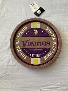 Minnesota Vikings NFL 12 Inch Wood Barrel Sign Round Brand New
