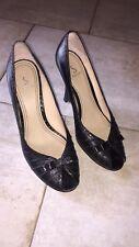 SACHI Black Leather Wedges - Size 7