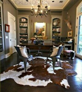 MEDIUM GENUINE COWHIDE LEATHER RUGS TRICOLOR COW FUR SKIN CARPET AREA 15-18 SQFT