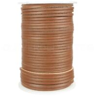 "1/8"" Genuine Leather Flat Cord - Brown - 3mm Cowhide Strap - 10 25 50 Feet"