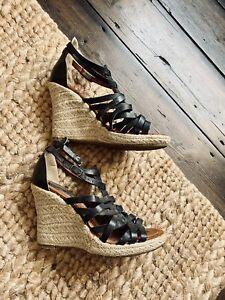 Bertie Black Leather Braided Wedge Sandals Sz6 39