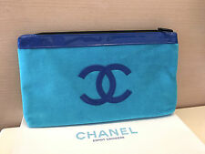 CHANEL BEAUTE Blue Large Makeup Cosmetic Bag Clutch Pouch  ** New in box