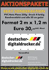 Werbeplane 2 m x 1,2 m Plakat PVC Netz Plane bedruckt farbig drucken geöst