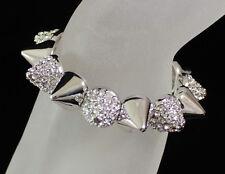 Spike Stud Clear Austrian Rhinestone Crystal Bracelet Bangle Cuff Party B1594