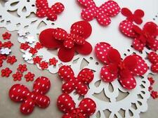 60 Felt/Satin White Polka Dot Butterfly+Rhinestone Flower Applique/Bow H308-Red