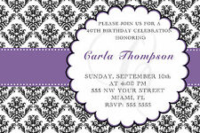 30 Invitations Purple Black Damask Adult Birthday Party Any Age 50th 60th A1