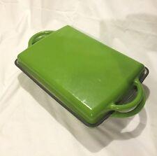 "Green Roasting Pan Cast Iron Enamel Cottage Collection 9""x13"" Baking Dish"