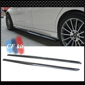 For 15up Mercedes W205 C-Class Sedan AMG Carbon Fiber Side Skirt Extensions Lip