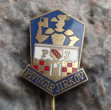 Antique Pivovar Jirkov PJ Brewery Czech Lager Beer Advertising Pin Badge